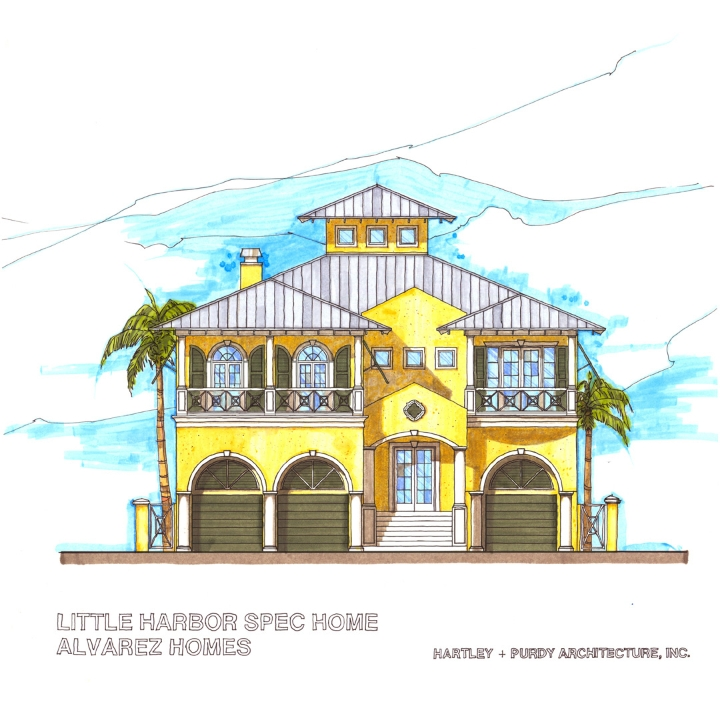 Island Style Residence, Little Harbour, Florida – Hartley + Purdy Architecture worked with Alvarez Homes to design a model prototype home for one of their residential developments in Little Harbour, Florida.