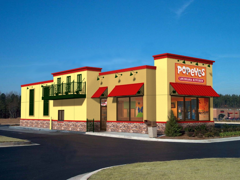 Popeyes Louisiana Kitchen - Hartley + Purdy Architecture worked with Popeyes Louisiana Kitchen to design this 2,500sf prototype store in Hollywood, Florida.